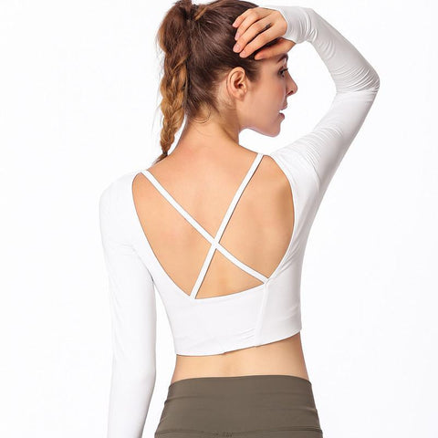 Long-sleeved Cross-back Exercise Workout Yoga T-shiirts