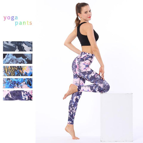 High-waisted Stretch Exercise Printed Nine-point Pants