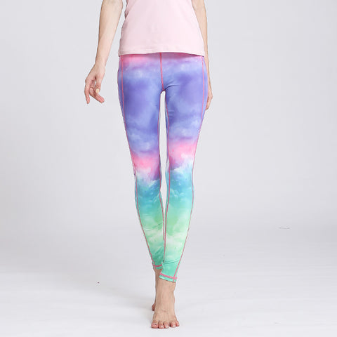 Digital Gradient Printed Yoga Pants Stretch Pants Fitness Sports Pants Tights