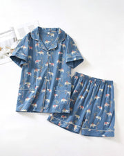 Cotton Knitted Pajamas Set Loose Thin Short Sleeve Shorts Home Suit
