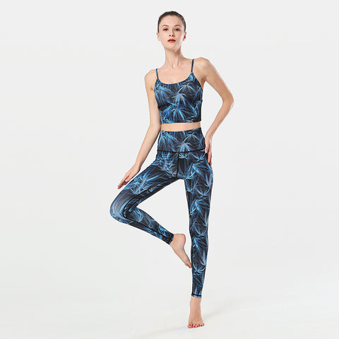 Yoga Clothing Suit Printed Yoga Fitness Vest Trousers Sports Suit