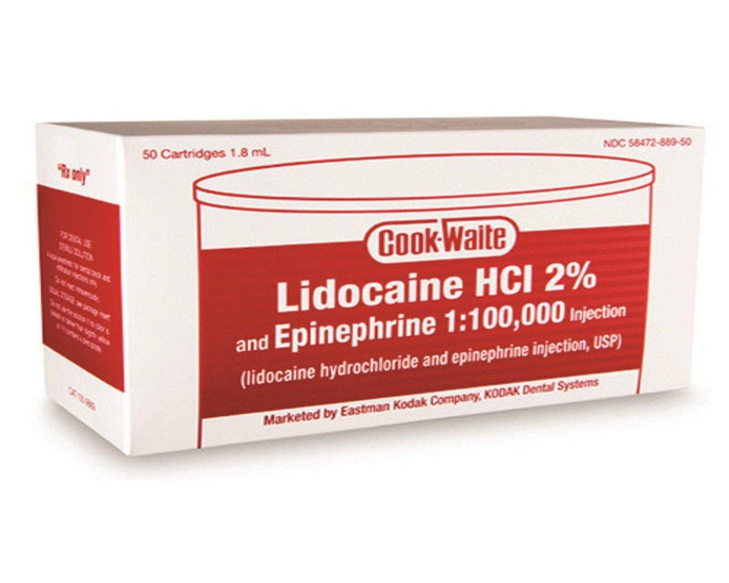 Lidocaine HCl 2% and Epinephrine Injection Cartridges, 50/Pkg