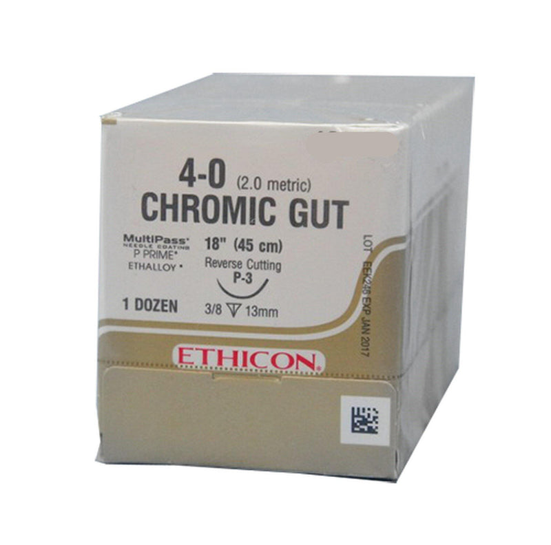 "Ethicon Sutures. Plain Gut. 612G 3-0 X-1 18"" 12/Box"