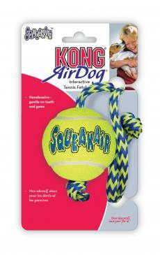 KONG AIR DOG SQUEAKER BALLS W ROPE MEDIUM