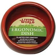 LIVING WORLD CERAMIC ERGONOMIC PET DISH TERRACOTTA LARGE 420ML