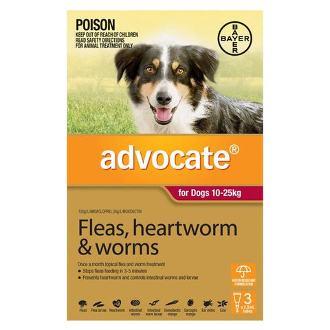 ADVOCATE DOG 10-25 KG RED 3'S