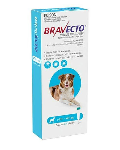 BRAVECTO DOG SPOT ON 1000MG 20-40KG BLUE