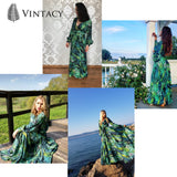 Long Sleeve Dress Tropical Green