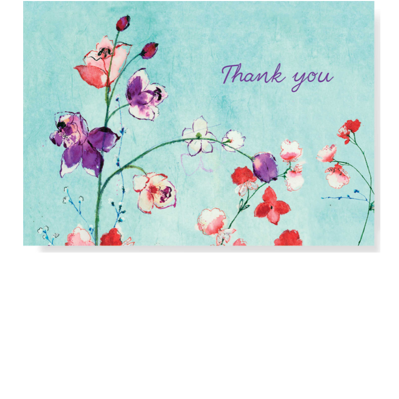 Fuchsia Blooms Thank You Note Cards