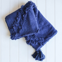 Load image into Gallery viewer, Cotton Throw with Tassles : Burleigh Navy