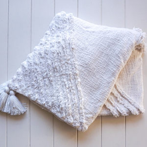 Cotton Throw with Tassels : Burleigh White