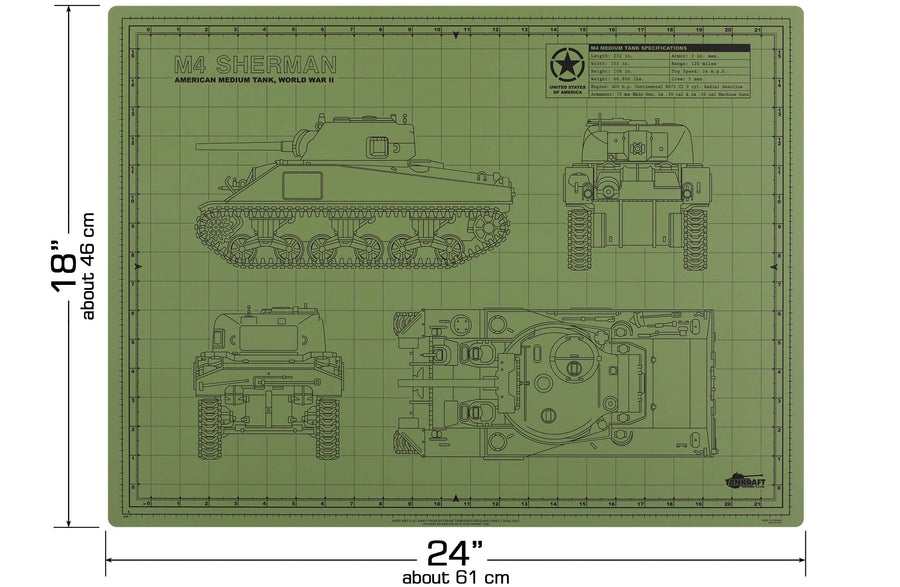 SHERMAN TANK MODEL BUILDER'S CUTTING MAT 18x24 - Tankraft
