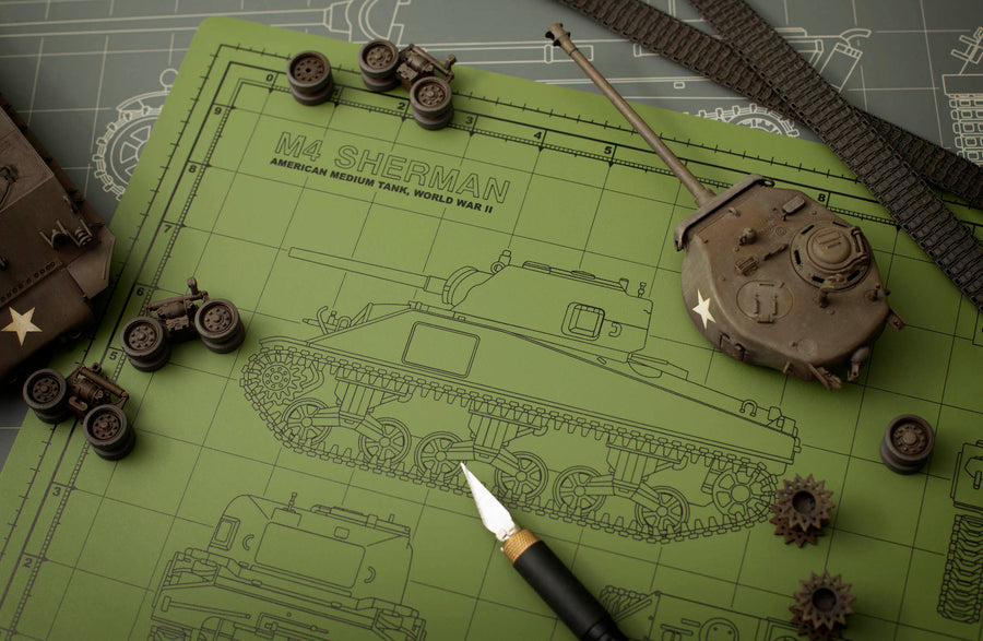 SHERMAN TANK MODEL BUILDER'S CUTTING MAT 12x18 - Tankraft