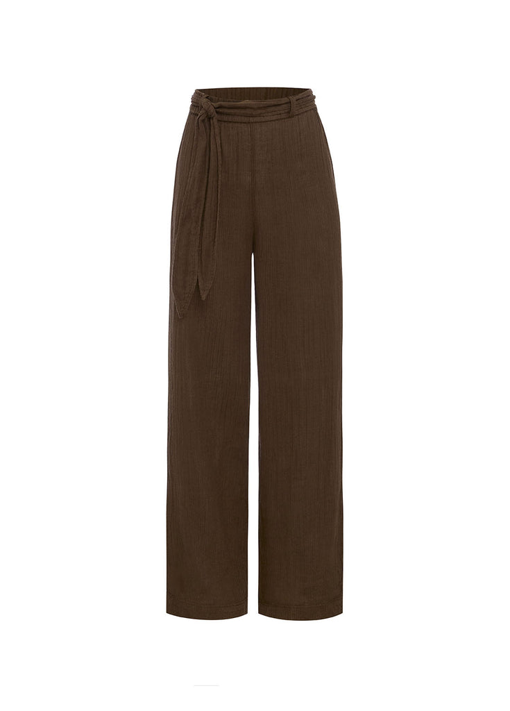 Chocolate Belted Vacation Pant