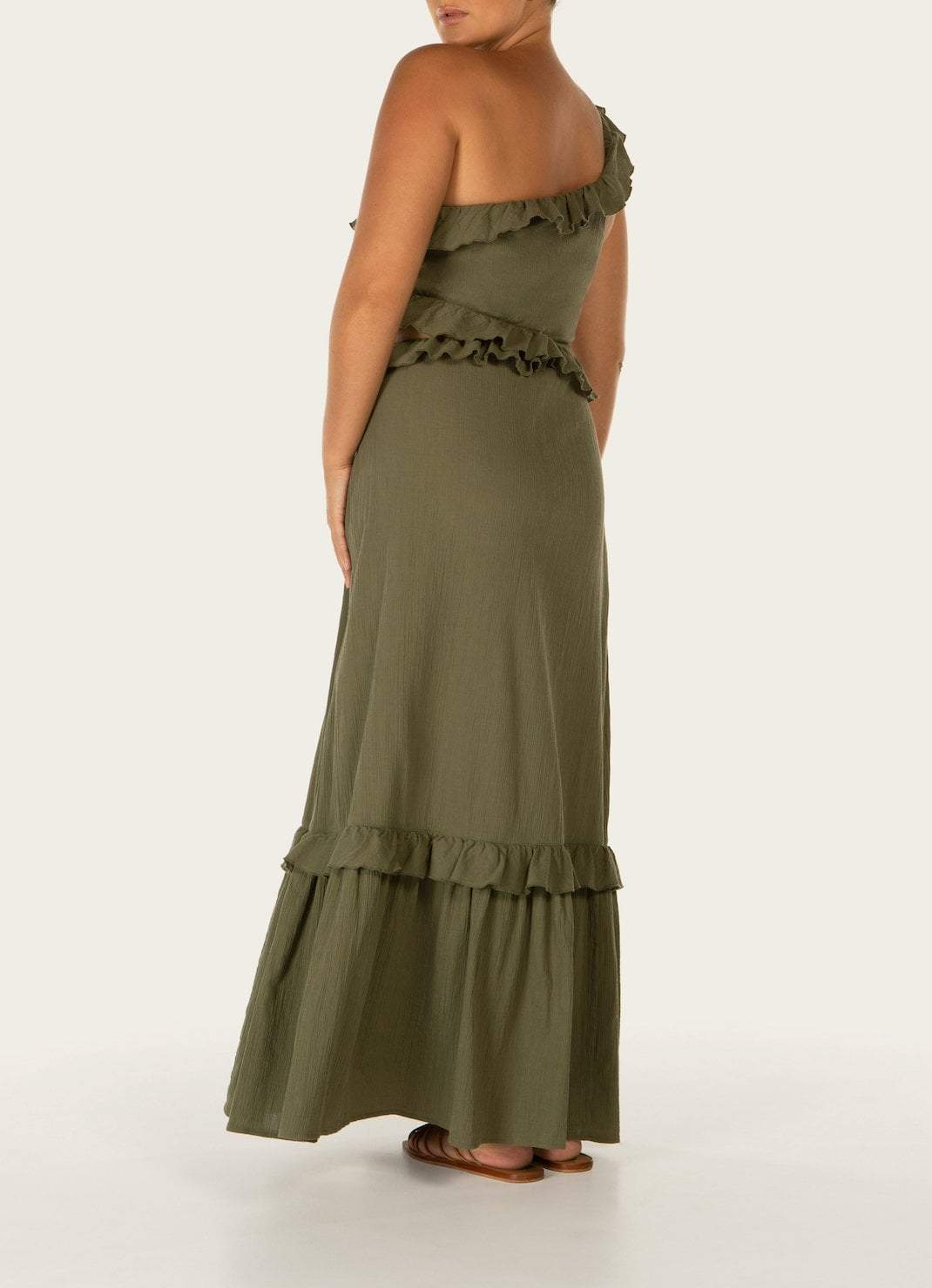 Pear One Shoulder Tiered Dress