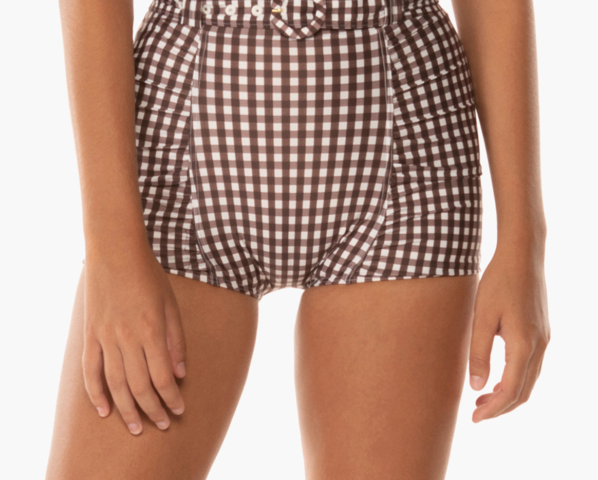 Women's bikini bottoms ruched belted short chocolate cream gingham timeless classic sustainable material econyl recycled summer swiwmear sunday