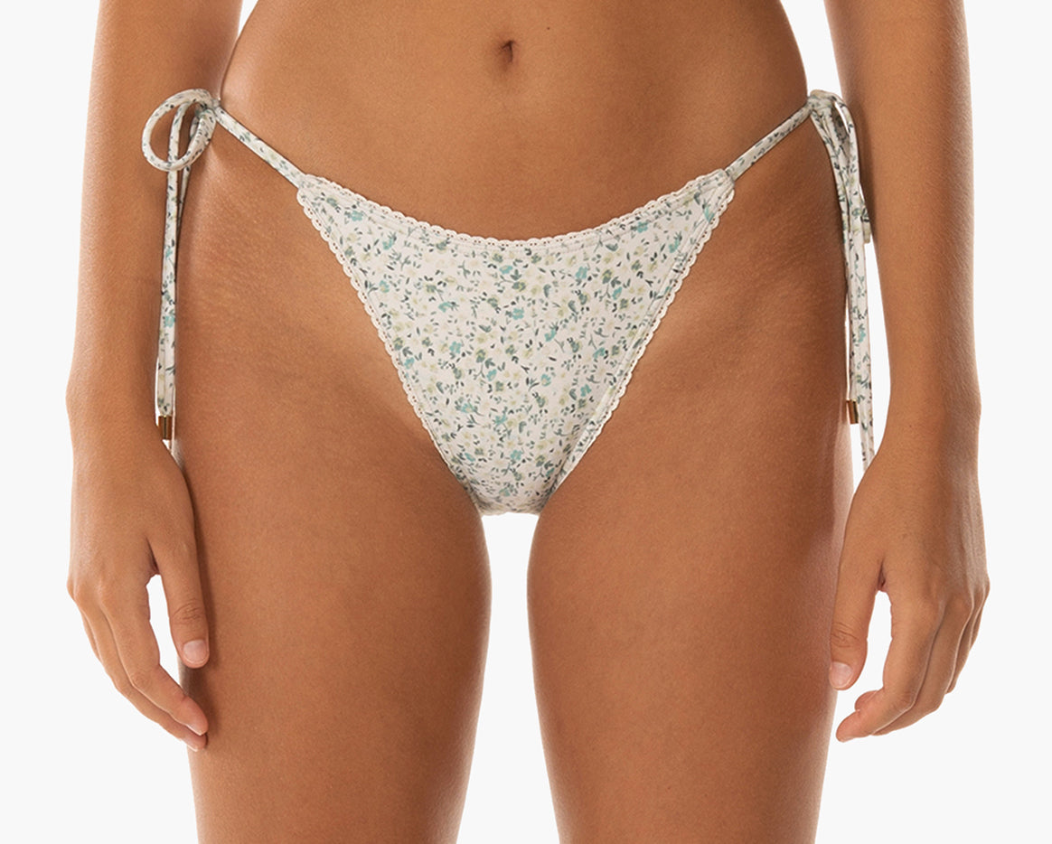 womens string bikini bottoms green blue ditsy floral sustainable econyl recycled materials
