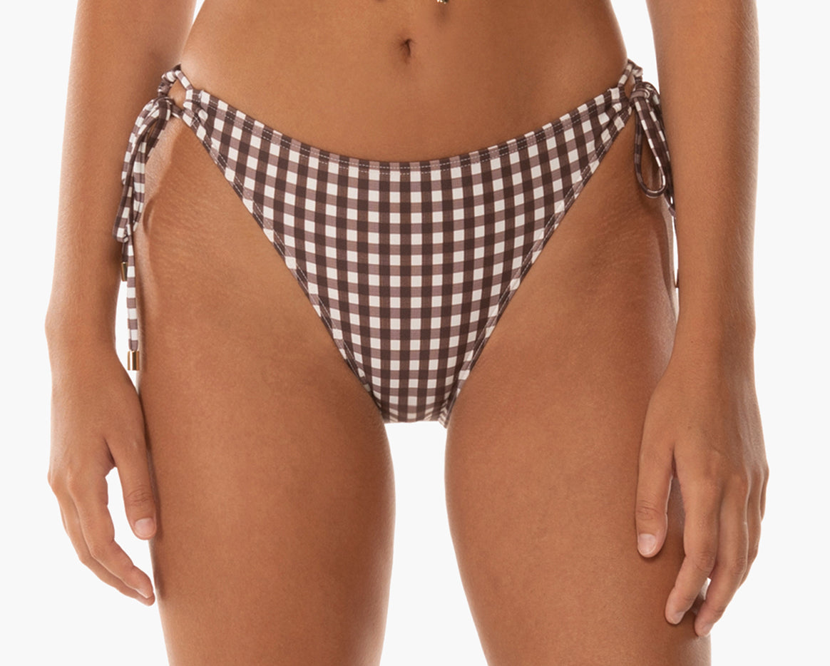 Women's bikini bottoms tie side bow detail chocolate cream gingham timeless classic sustainable material econyl recycled summer swiwmear sunday