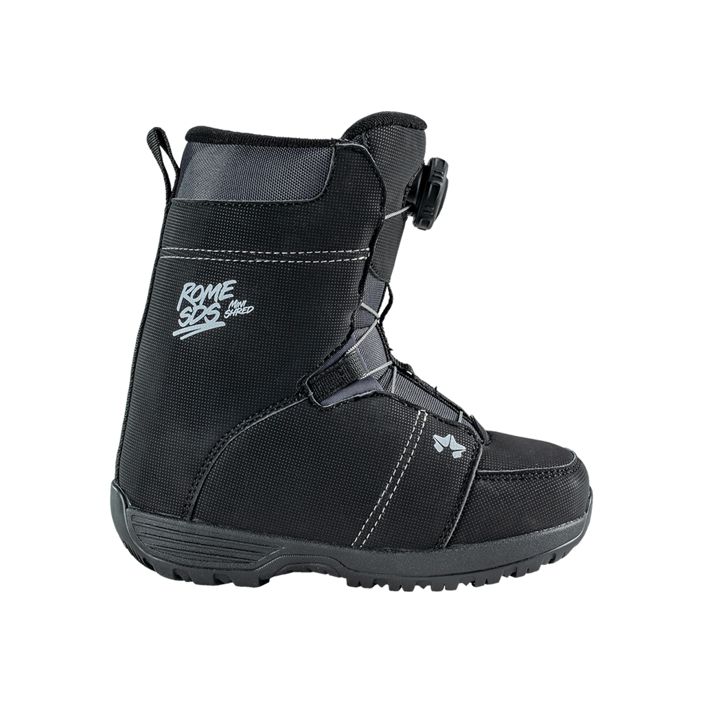 Kids snowboard boots. Minishred boa boots for kids by Rome snowboards.