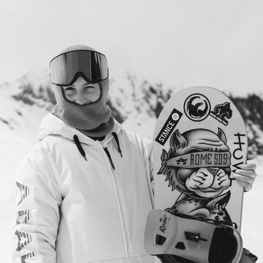 Mia Brookes Snowboarder for the Rome Snowboards Am team