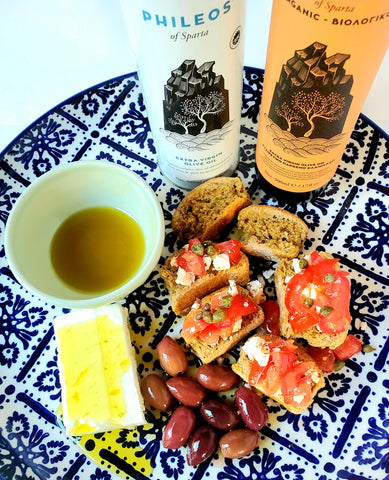 Extra virgin olive oil with feta and traditional Cretan rusks