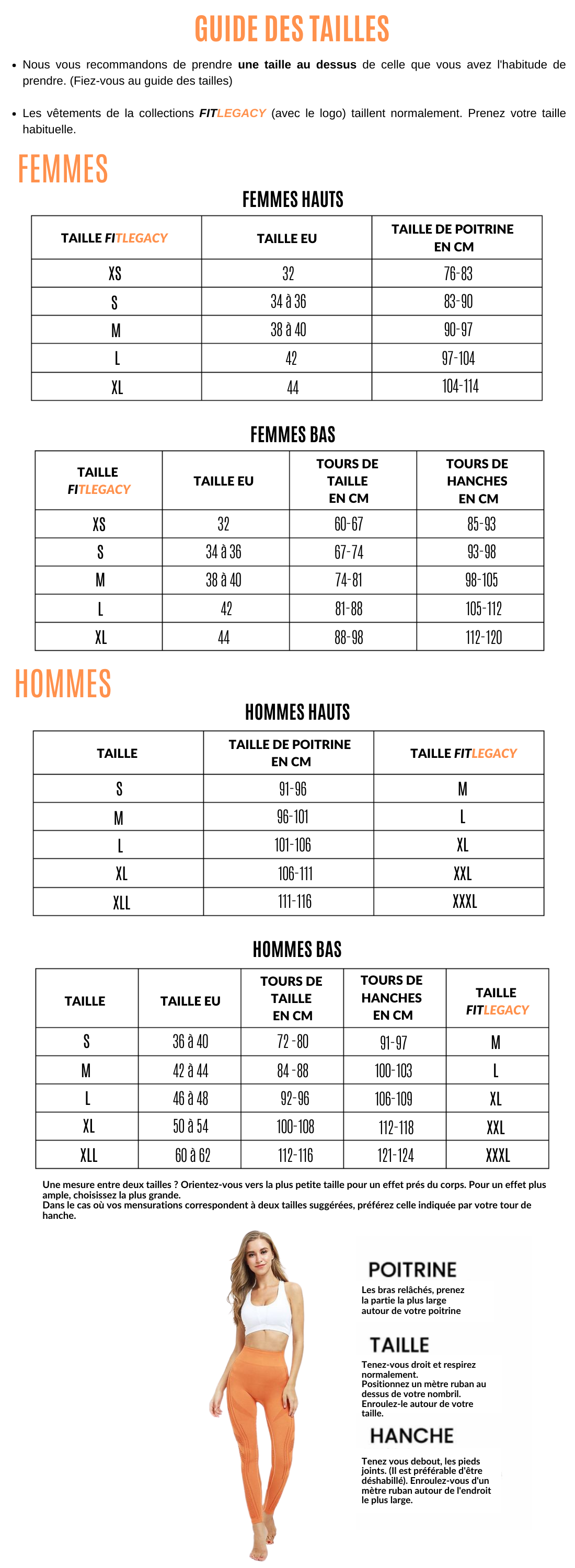 Guide des tailles FITLEGACY