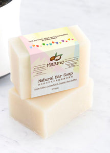 Organic Facial and Bath Bar Soap: Coconut Oil and Organic Shea Butter (100g)