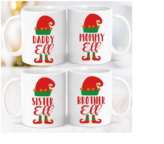 Set x 4 Mugs Navideños Familia Elf