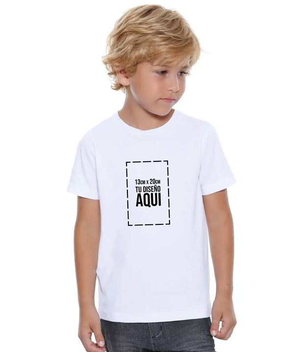 Camiseta Cuello Redondo Niño 100% Algodón Nacional + Estampado Digital Full Color Frente Tamaño Media Carta