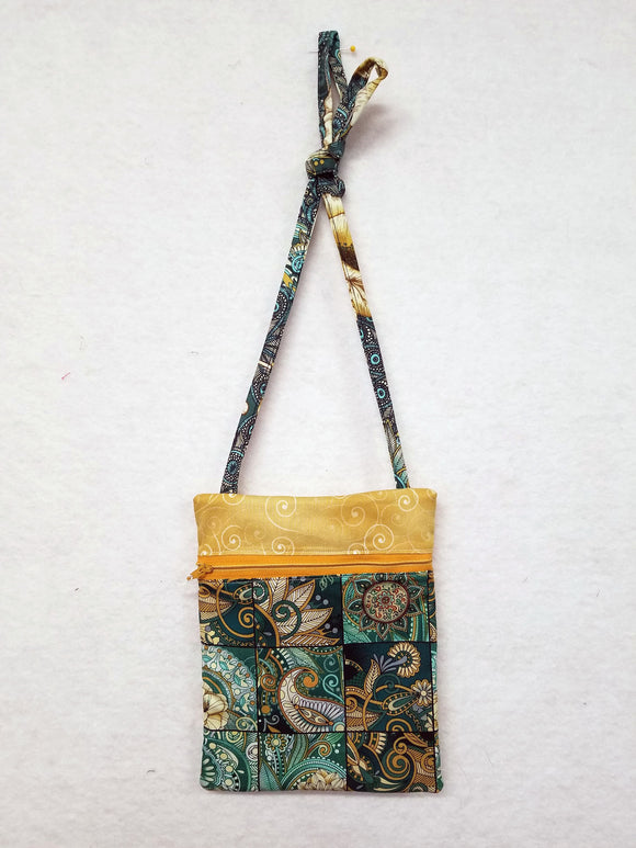 Purse, Green and Gold Floral