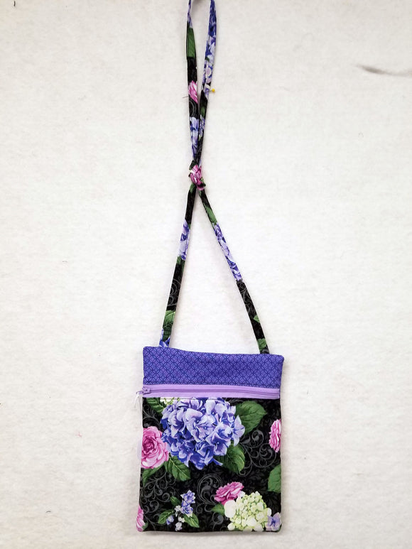 Purse, Black with Purple Flowers