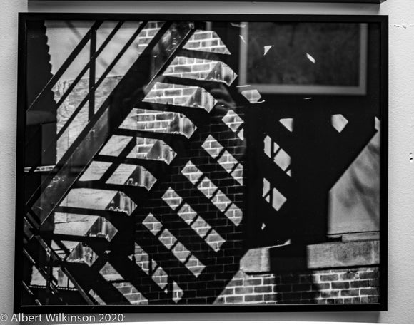 Framed Print, Black and White Fire Escape