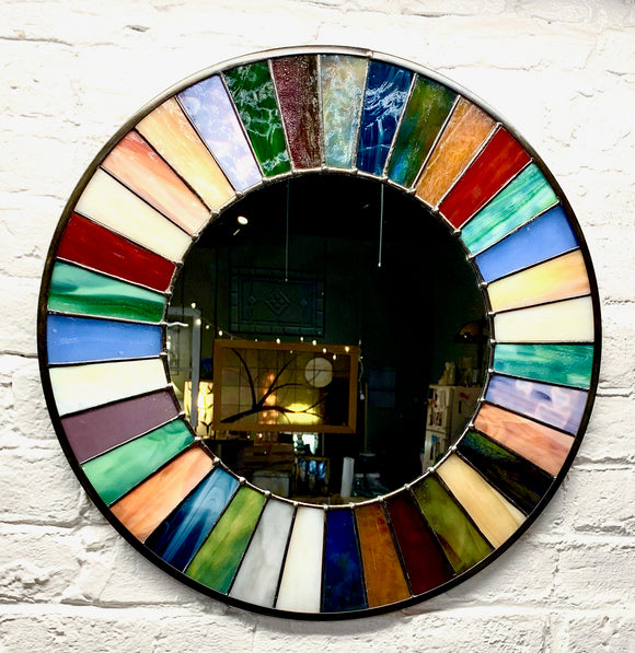 Stained Glass Small Wagon Wheel Mirror. Available in multiple sizes. Made to order.