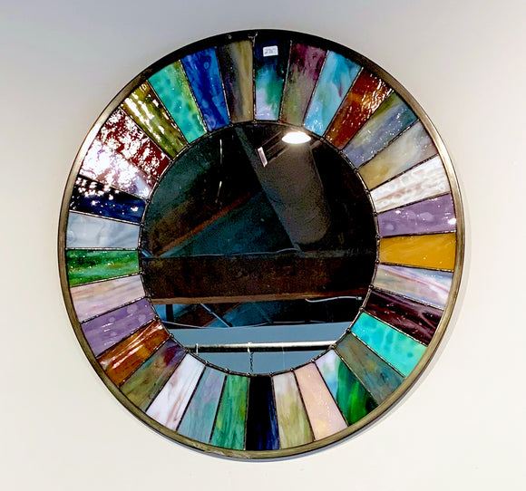 Stained Glass Large Wagon Wheel Mirror - SOLD. Made by order.