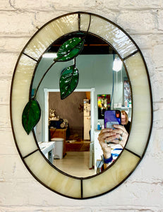 Oval Mirror with Hanging Leaves