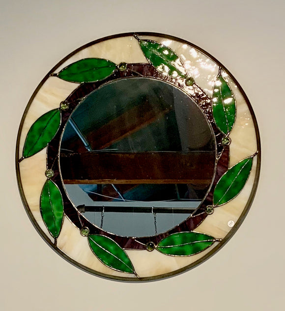 Round Stained Glass Mirror with Leaves