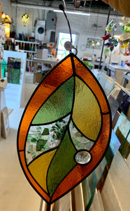 Stained Glass Hanging Leaf