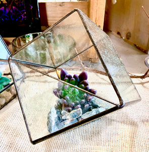 Stained Glass Cube Terrarium