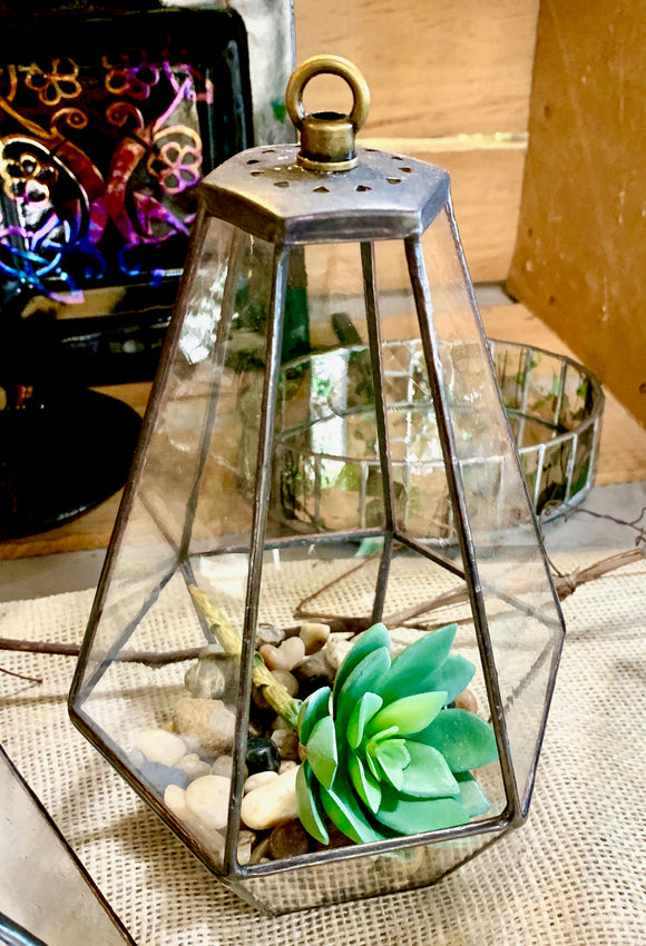 Stained Glass Tall Hanging Terrarium