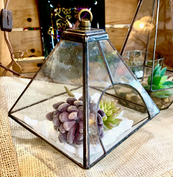 Stained Glass Square Hanging Terrarium