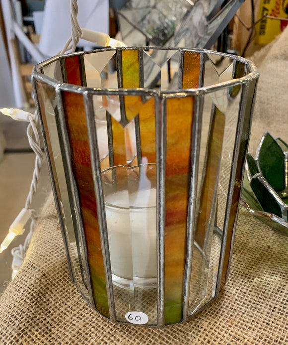 Stained Glass Bevelled Candle Holders