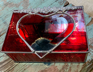 Stained Glass Heart Jewelry Box