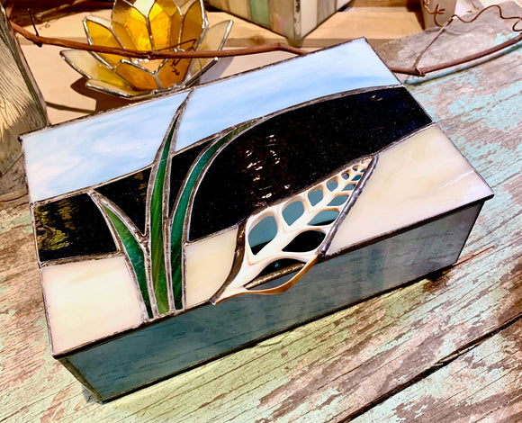 Stained Glass Beach with Shell Jewelry Box