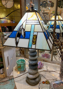 Stained Glass Geometric Lampshade with Feathers and Stone Base