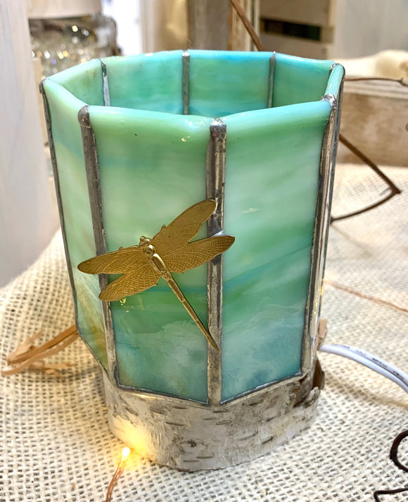 Green Dragonfly Candle Holder