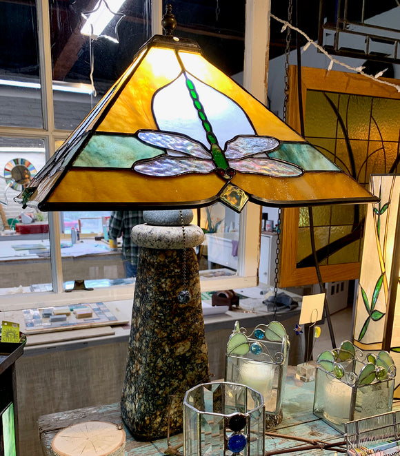 Stained Glass Dragonfly Lampshade with Stone Base