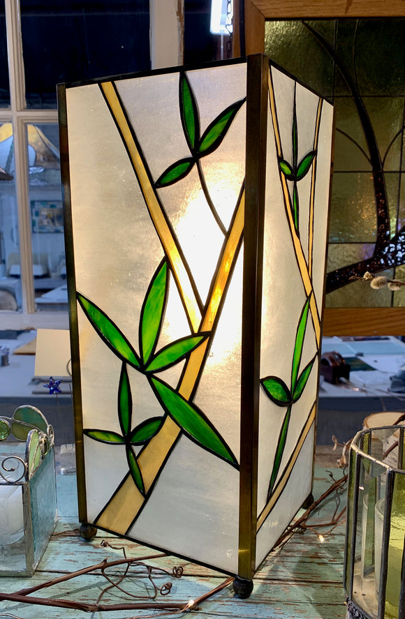 Stained Glass Bamboo Column Lamp - SOLD. Orders only