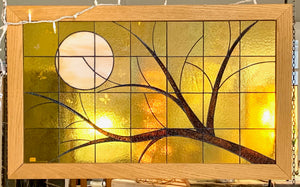Stained Glass Moon and Branches - SOLD. Made by order.