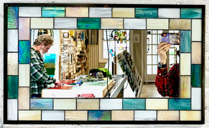 Rectangular Stained Glass Subway Tile Mirror