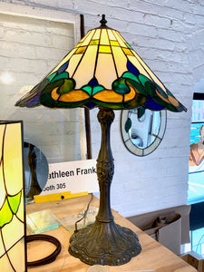 Stained Glass Lampshade with Metal Base